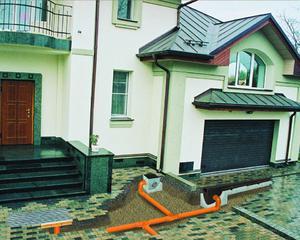 Ливневая канализация закрытого типа выполняется на участке частного дома.