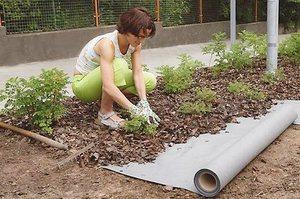 Геотекстиль на даче используют на огороде и для создания клумб.