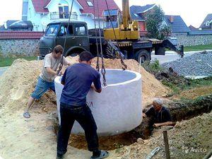 Установка колодцев из бетонных колец